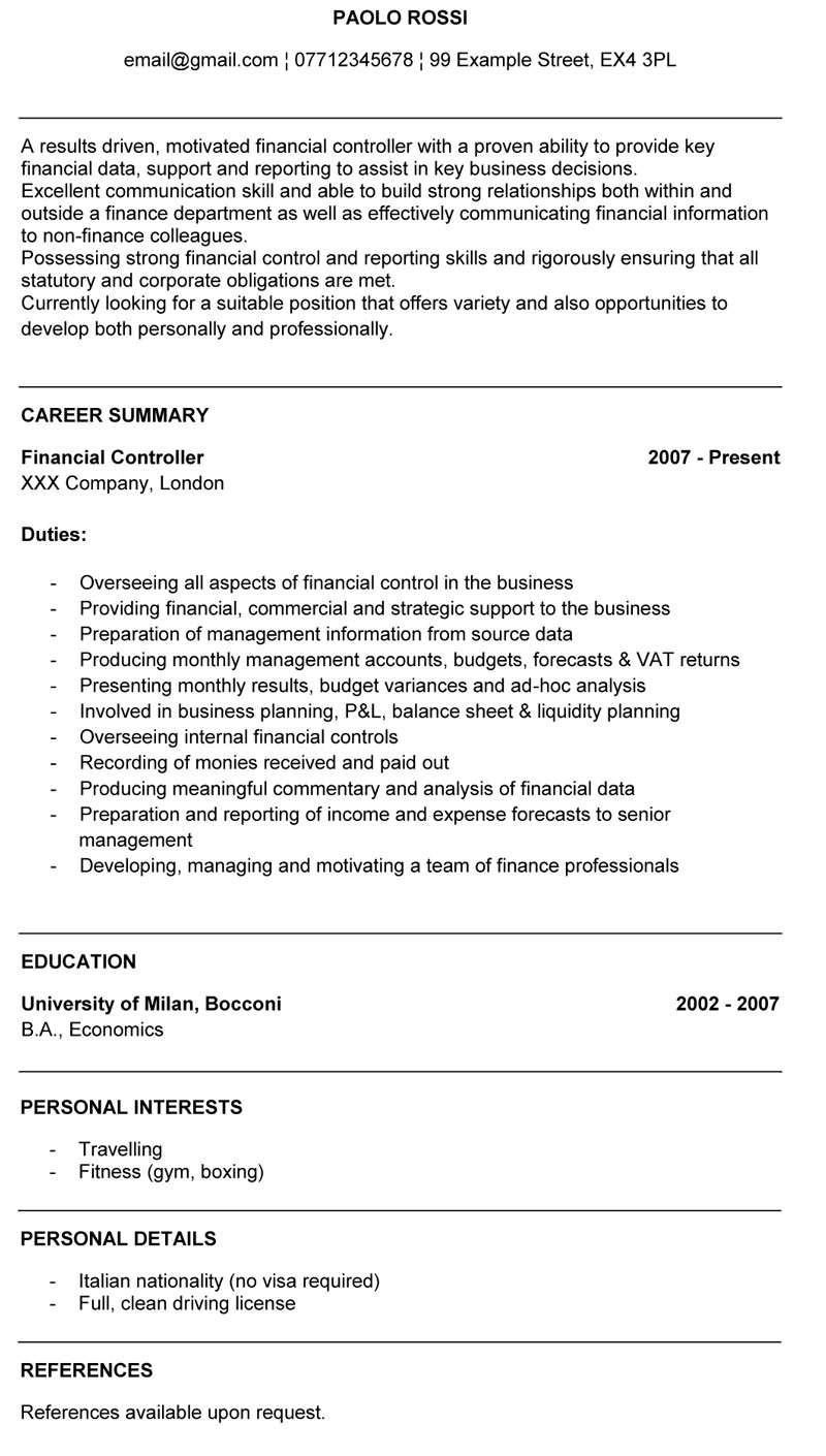 Cv Per Financial Controller Cv In Inglese